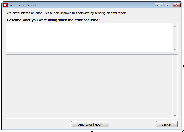 ErrorReport User Interface